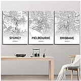 artaslf Sydney Brisbane Melbourne Schwarz-Weiß-Karte Druck