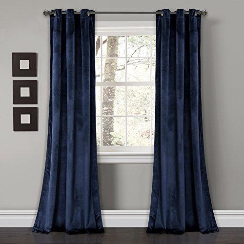 "Lush Decor Prima Velvet Curtains Color Block Room Darkening Window Panel Set for Living, Dining, Bedroom (Pair), 84"" L, Navy"