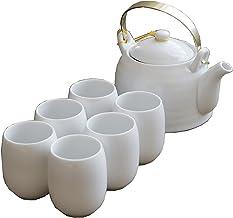 Japanse Thee Cup Set, Handgemaakte Porselein Theeset, Aziatische Thee Set, voor Outdoor Picnic Business Hotel Kantoor Wit...