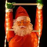 Deuba LED Weihnachtsmann auf Leiter XXL 240cm für In-/Outdoor 8 Leuchtfunktionen Santa Claus Nikolaus Weihnachten - 4