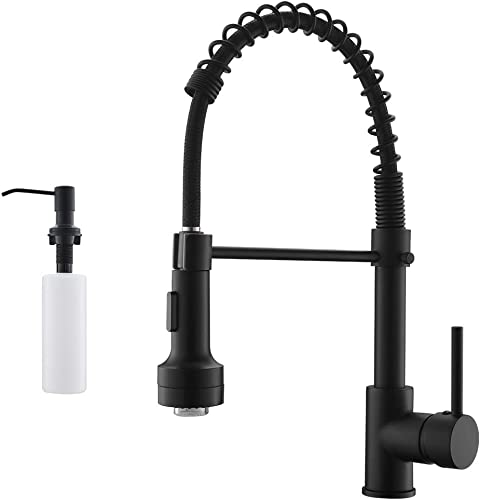 new arrival GIMILI LED Spring Kitchen Sink Faucet with Soap online sale online Dispenser Matte Black outlet online sale