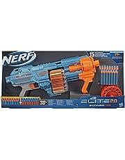 Nerf E9527 Elite 2.0 Shockwave RD-15, 30 Nerf Kogels, Pump-Action Slam Fire, Ingebouwde Aanpassingsmogelijkheden, Blauw/Oranje