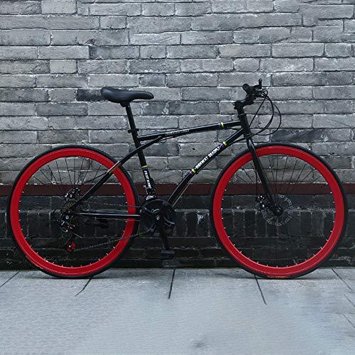 AURALLL Route Vélos Vélo de Route Racing Hommes et Les Femmes, en Acier au Carbone Haut Bike Racing 7 Vitesse Dérailleur système et Double V-Brake Aluminium Tige de Conception,Noir