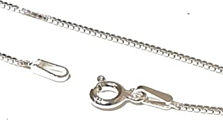 Markylis - Genuine 925 Sterling Silver Box Link Chain Necklace - 1mm - BOX015 - Various Lengths