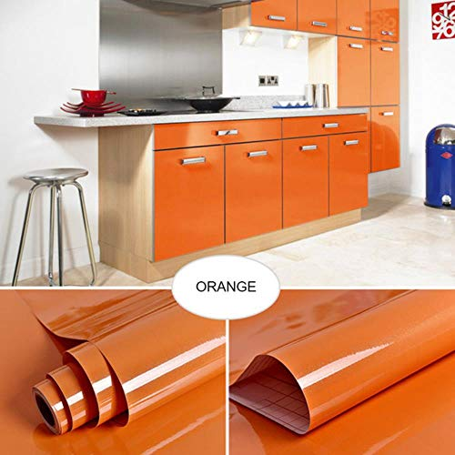 Oude meubels muurstickers koelkast deurframe stickers keukenkast waterdichte film zelfklevend oliebestendig behang, oranje, 40 cm x 5 m