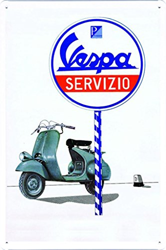 "Vespa Scooter Servizio Service Station 7.8""x11.8"" Tin Poster Metal Plate Wall Decor by Abstract Sign"