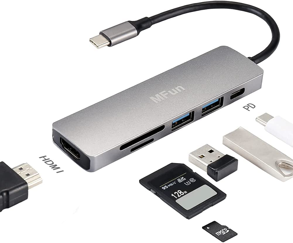 USB C Hub,MFun USB Hub to HDMI 6-in-1 Adapter with USB 3.0 Port,SD/Micro SD Card Reader,PD Charging Port,4K HDMI Adapter Compatible for MacBook Pro Air USB C Laptops and More Type C Devices.