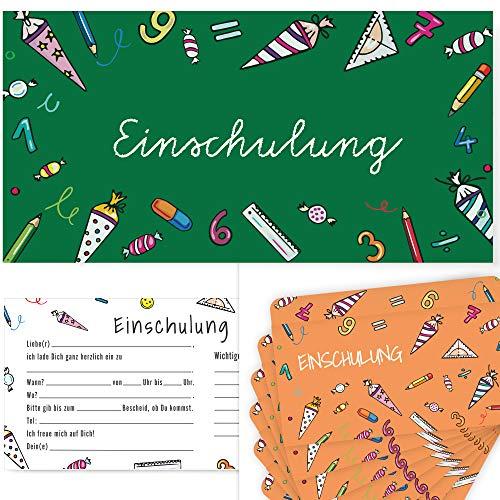Organise Paradise Postkartenschmiede Einschulung Einladungskarten - 12er-Set - Einladung zum Schulanfang - Mädchen Junge