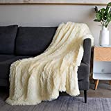 Soft Fuzzy Faux Fur Throw Blanket ,50'x60',Reversible Lightweight Fluffy Cozy Plush Fleece Comfy Furry Microfiber Decorative Shaggy Blanket for Couch Sofa Bed,Light Yellow