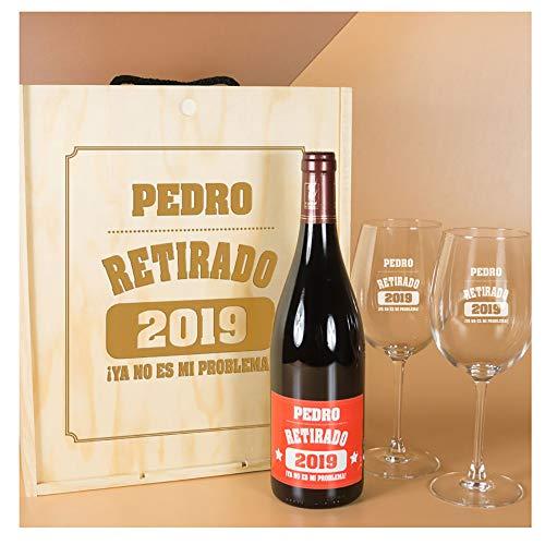 Calledelregalo Regalo Divertido para jubilación: Kit Personalizado con Botella de Vino + Copas de Vino en Caja de Madera