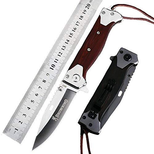 Browning OEM Outdoor 440C Taschenmesser Klappmesser jagdmesser Camping Klein holzgriff Stahl Klinge Clip Survival Messer Überlebensmesser Fahrtenmesser Multi Werkzeuge grau EDC