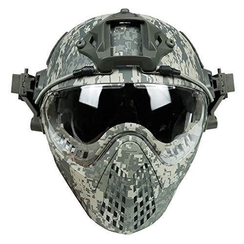 WLXW Airsoft Tactical Metal Mesh Mask Und PJ Type Fast Paintball Helm Mit Visierbrille, Gehörschutz Faltbarer, Winddichter, Thermischer Vollgesichtsschutz Für Outdoor-Aktivitäten,ACU,M