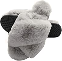 MIYA Ladies' Fluffy Faux Fur Slippers Womens Open Toe Slip On Slippers Soft Comfy Crossover Sliders Flat Indoor House Shoes