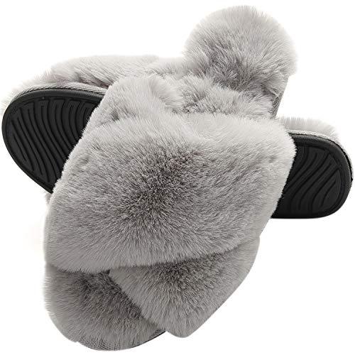 MIYA Dame Flauschige Hausschuhe Frauen Plüsche Pantoffeln Bequeme rutschfeste Slipper Grau 39 40 L