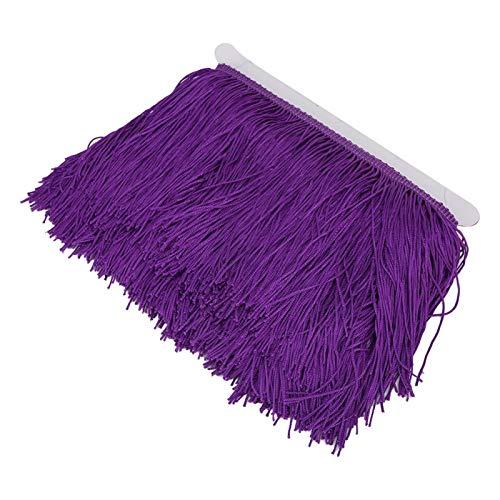 Quaste Fransenbesatz Spitze Latin Makramee Exquisite Samba Tanzkleidung Vorhang Kleidung Zubehör für DIY Latin Dress Stage(Dark Purple)