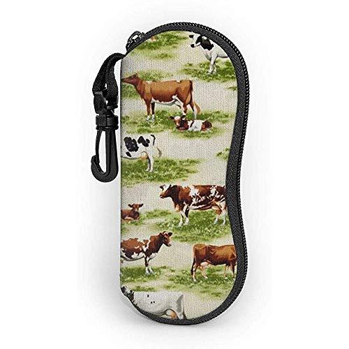 lymknumb Estuche para gafas Pasto y vaca con mosquetón Gafas de sol con cremallera de neopreno portátil ultraligero Estuche blando