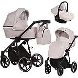 KUNERT Kinderwagen MOLTO Sportwagen Babywagen Autositz Babyschale Komplettset Kinder Wagen Set 2 in 1 und 3 in 1 (Creme, Rahmenfarbe: Schwarz, 3in1)