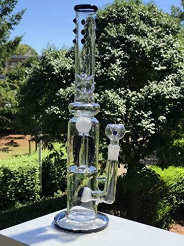 Funky Gear tubo de ahumado de vidrio recto, hecho a mano de vidrio de borosilicato, diseño único y elegante, ofrece un sabor limpio y puro, perfecto para cualquier hierba, 40 cm, color blanco