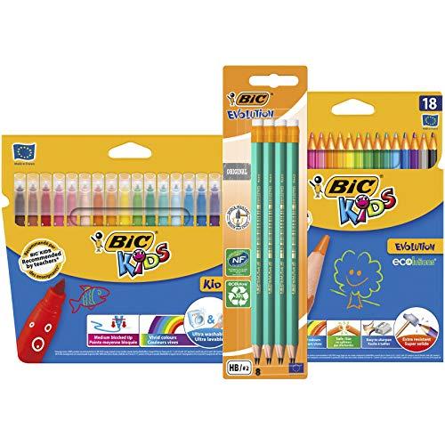 BIC Kit Rentrée des Classes - 18 Feutres de Coloriage/18 Crayons de Couleur/8 Crayons à Papier HB, Lot de 3