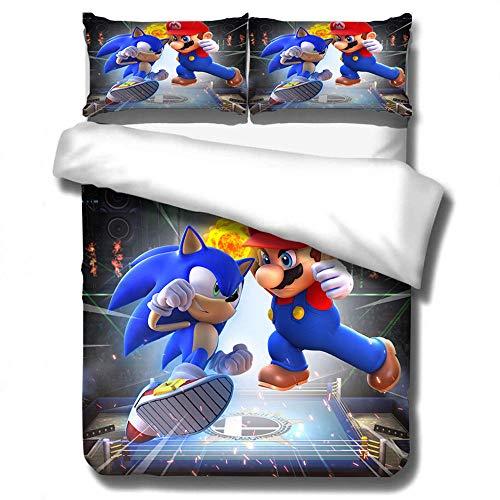 NiQiShangMao 2020 3D Sonic The Hedgehog Juego de Cama Fundas nórdicas Super Mario Bros Fundas de Almohada Twin Full Queen King Edredón Juegos de Cama
