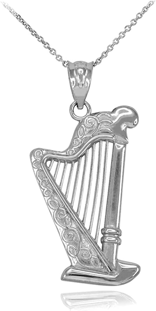 Harp Super-cheap Musical Instrument Sterling Necklace Max 44% OFF Silver Pendant