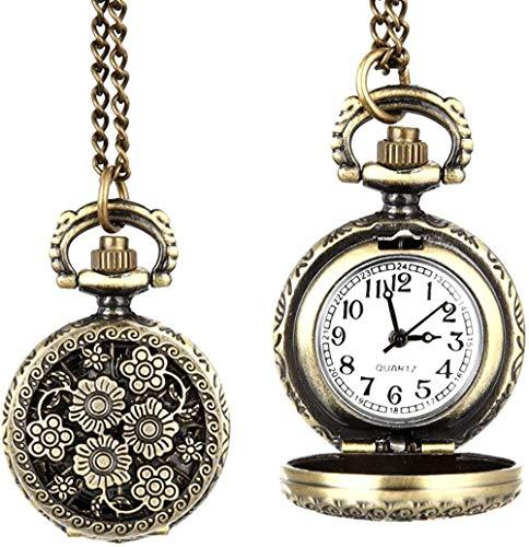 NC188 Reloj de Bolsillo de Moda para Mujer, Reloj de Bolsillo de Cuarzo Vintage, aleación, Collar de Flores ahuecadas, Colgante para Mujer, suéter, Cadena, Reloj, Regalos