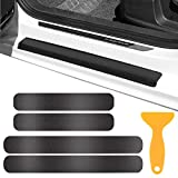 Kissral Car Door Sill Protector with Scraper, 4 Pcs 5D Carbon Fiber Car Door Bumper Protection Strips, Anti Scratch Door Sill Scuff Plate Stickers with Strong Adhesive for Universal Car Truck, Black