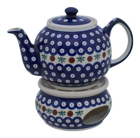 Original Bunzlauer Keramik Teekanne mit Stövchen 1.00 Liter im Dekor 41