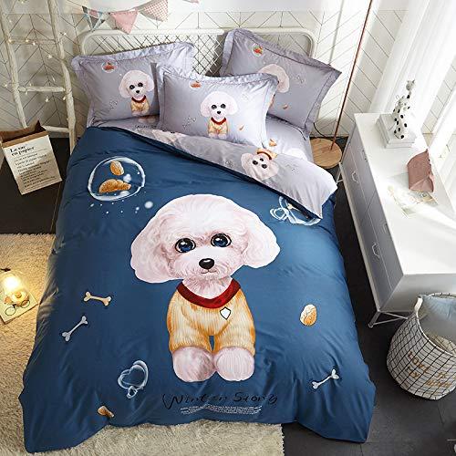 yaonuli Baumwolle Active Twill Print vierteilig Baumwolle vierteilig süßer Hund Standard (Bettbezug 200 * 230 Blatt 250 * 250)