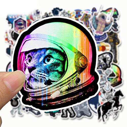 SZYND Adesivi Stazione Spaziale Astronauta 50 Pz/Pacco Cartoon Lunar Rocket Universe Appiccicoso per Trolley Case Skateboard Adesivi Graffiti