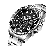 MEGIR Men's Business Work Analogue Quartz Wrist Watch with Stainless Steel Band Calendar Stopwatch...
