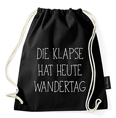 Über 60 Sprüche & Designs auswählbar/Sambosa Turnbeutel mit Spruch/Beutel: Schwarz/Rucksack/Jutebeutel/Sportbeutel/Hipster, Bag:Klapse