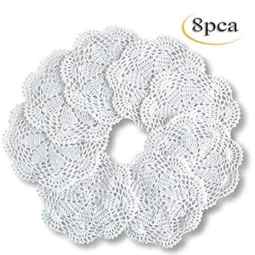 8 Stücke Spitzendeckchen Floral Runde Häkeldeckchen Baumwolle Tischsets handgemachte Küche Deckchen 20cm
