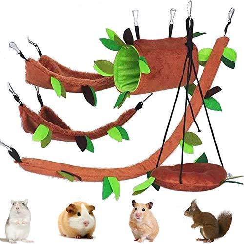 PINVNBY Hamster Hamster Hamaca de animales pequeños para colgar en la cama caliente, casa de rata, accesorios de juguete con hoja colgante túnel columpio para planeador de azúcar, ardilla, 5 unidades