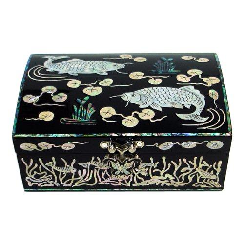 Mère de Incrustations de perles forme de poisson koi laqué en bois noir effet miroir pour homme bijoux baratija Keepsake Trésor Pirate Boîte de cadeau dans la poitrine organisateur