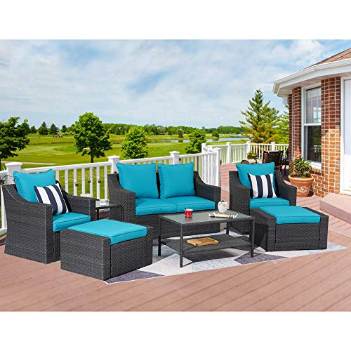 Stamo Outdoor Furniture 8-Piece Patio Conversation Furniture Set, Rattan Wicker Chairs Sectional Patio Sofa Set with Glass Table, All-Weather Outdoor Furniture Set with Blue Cushions