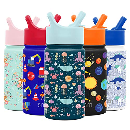 Simple Modern 14oz Summit Kids Water Bottle Thermos with Straw Lid -...