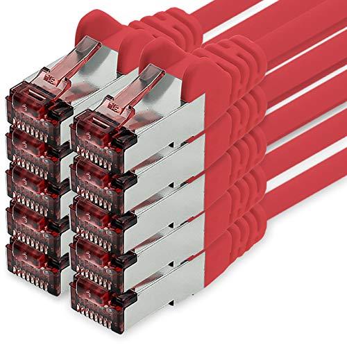 1CONN Cable de Red Cat6 5m Rojo - 10 x Cable de conexión LAN Cat 6 Cable de Red LAN Sftp Pimf Lszh Cobre 1000 Mbit s