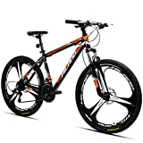 Hiland 26 Inch Mountain Bike Aluminum MTB Bicycle with 17 Inch Frame Kickstand Disc-Brake Suspension Fork Cycling Urban Commuter City Bicycle 3-Spokes Black Orange