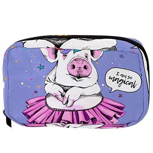 LORIES - Bolsa de maquillaje para mujer con diseo de cerdo de Pap Noel, color rojo