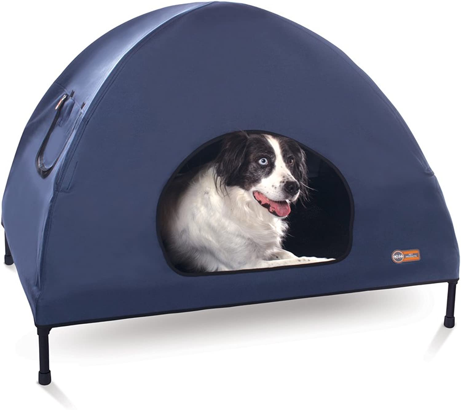 K&H Pet Products Original Pet Cot House Large Navy bluee  Indoor & Outdoor Elevated Pet Bed & Shelter (30  x 42  x 32 )
