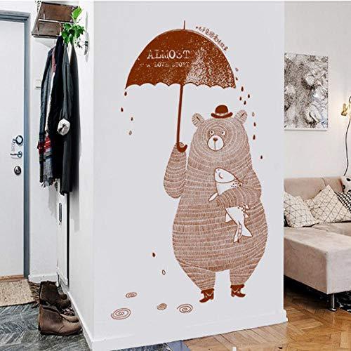 FHISDGN Leuke Cartoon Koffiebeer Met Paraplu Onder De regen Baby Kids Slaapkamer Decoratie Muurstickers Kids Kwekerij Sticker Geschenken