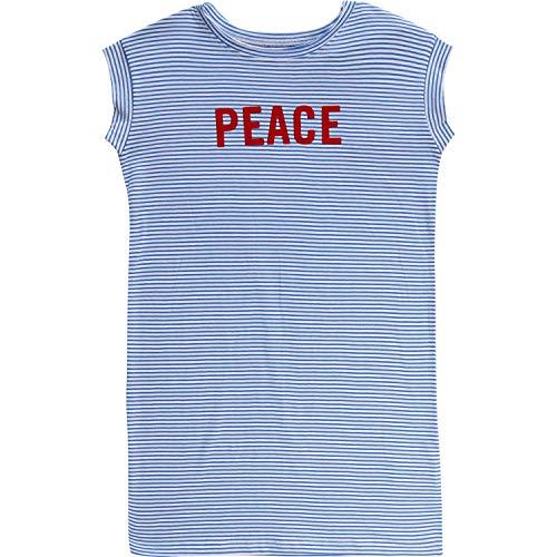 Zadig & Voltaire - Vestido Infantil a Rayas con Estampado de la Paz Azul Claro/Blanco 122 cm-128 cm