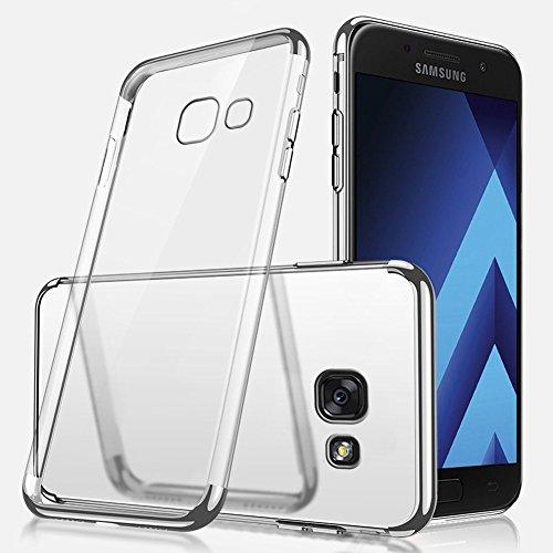 Herbests Coque Etui Housse pour Galaxy A3 2017 Coque Silicone Étui Housse avec Motif,Ultra Mince Crystal Clear Transparent Silicone Soft TPU Étui Coque
