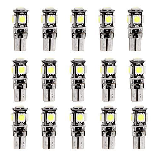 Para New 5 Series F10 F18 LED Bombilla Luz Interior de Coche Super brillante Luces lectura coche Dome Bombilla Canbus sin errores 12V Blanco 15 Piezas