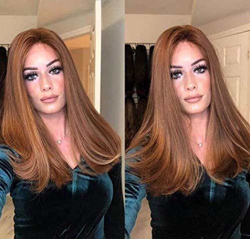 LDSBGJ Lady pruik grote golvende bruine micro-volume halflang steil haar verven pruik synthetische vezels haar