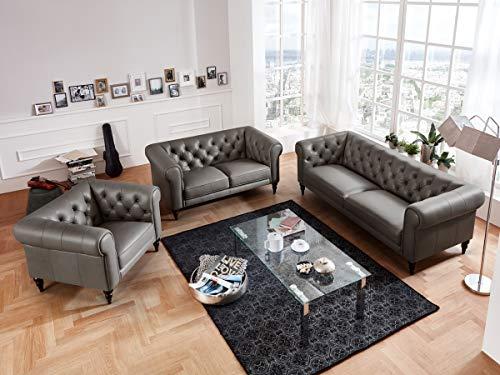 Moebella Leder Chesterfield Sofas 3-2-1-Sitzer Sitzgarnitur Couch Hudson Voll-Leder Massivholz Füße mit Knopfheftung (Grau)