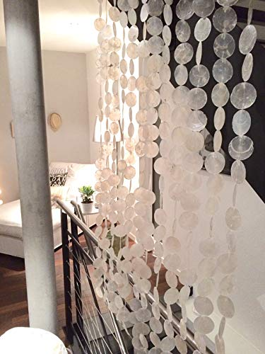 Werterhalt ums Haus Muschelvorhang aus echten Capiz-Muschelscheiben ca. 115 cm x 225 cm als Raumteiler, Türvorhang, Wanddeko,