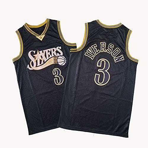 YDSZ 76érs Ivérson 3# Camiseta de Baloncesto de la Camiseta, Malla de Hombre Moda de Malla Transpirable Ropa Deportiva Black-XL