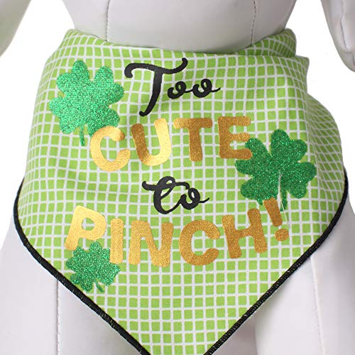 Tail Trends St. Patricks Day Dog Bandanas Too Cute to Pinch Screen Design for Medium to Large Sized Dogs - 100% Cotton